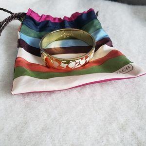 Coach Gold and White Bangle Bracelet